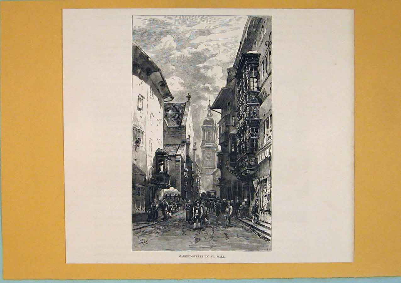 Print Market Street St Gall Switzerland Art 066411 Old Original
