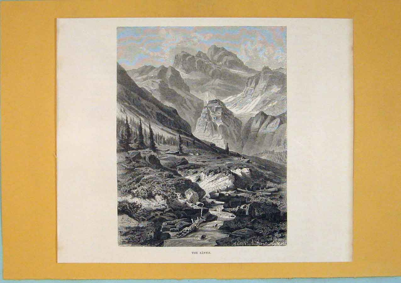 Print Santis Switzerland Fine Art 1878 Mountain 096411 Old Original