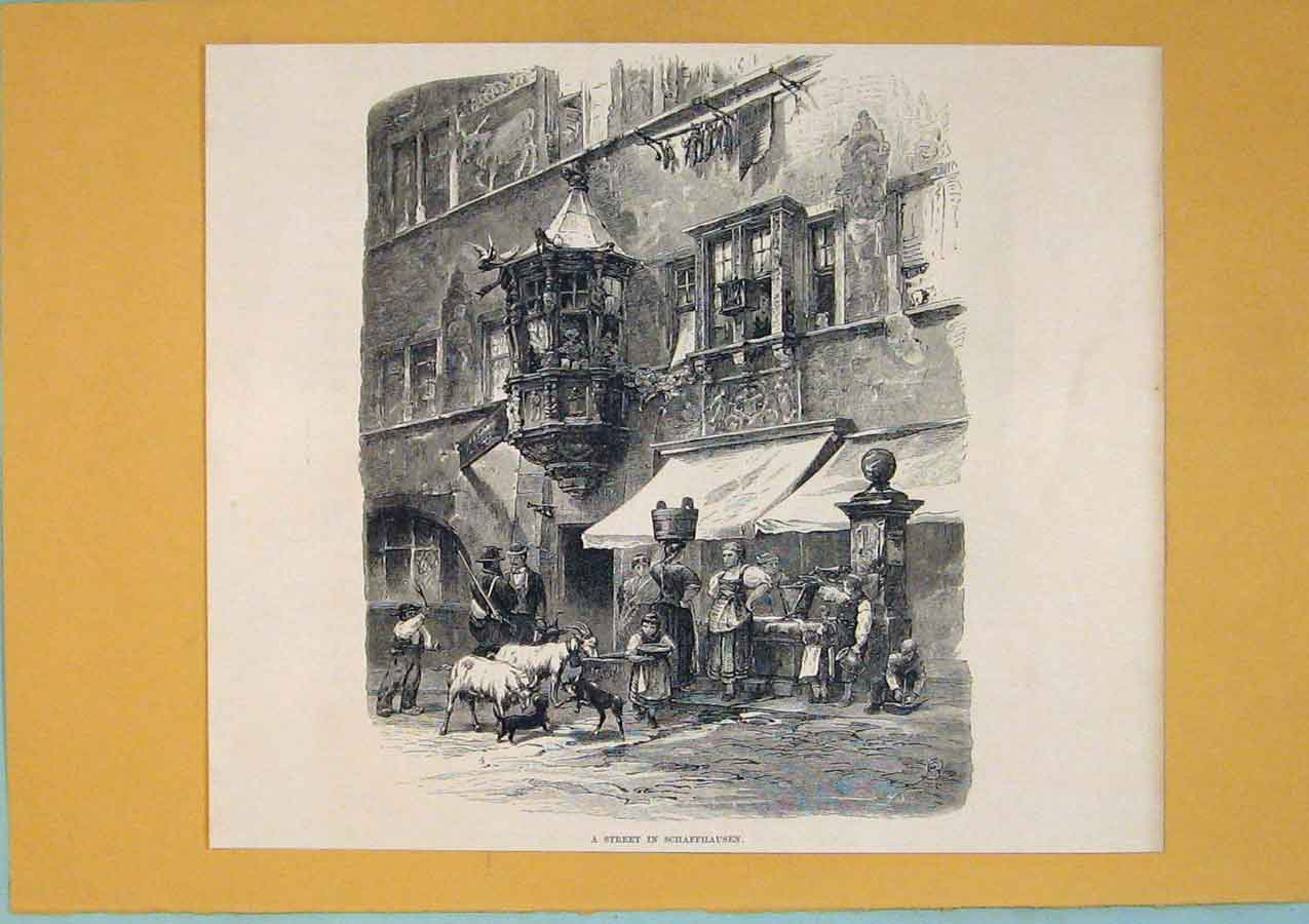 Print Street Schaffhausen Switzerland Culture 106411 Old Original
