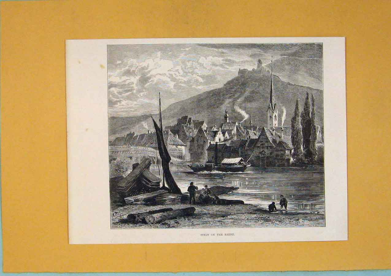 Print C1878 Switzerland Stein Rhine Boat Harbour Lake 116411 Old Original