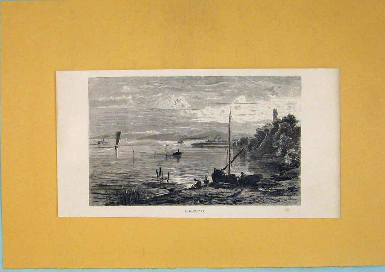Print Romanshorn Switzerland Lake Boat C1878 136411 Old Original