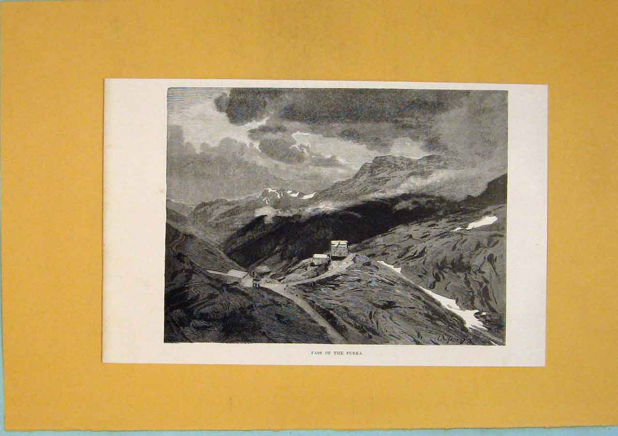 Print Pass Furka Mountain Village Switzerland 186411 Old Original