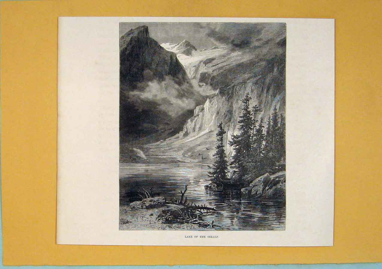 Print Lake Seealp Switzerland Swiss Fine Art C1878 386411 Old Original