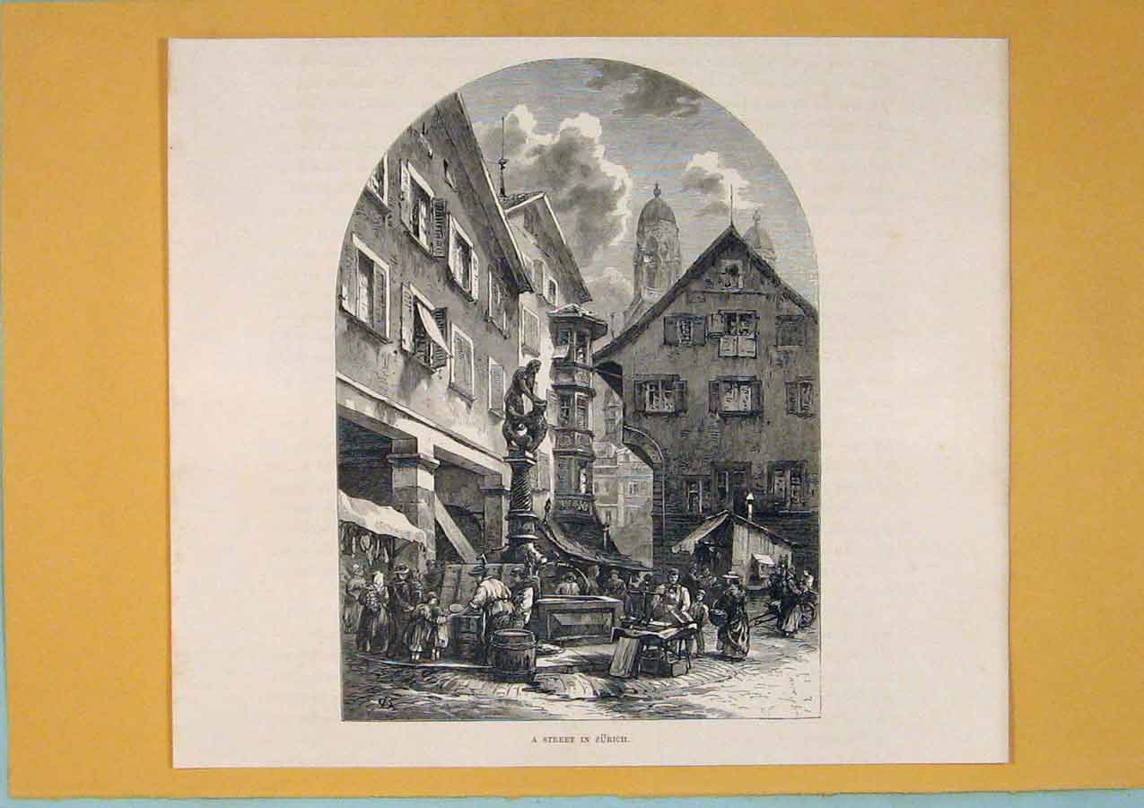 Print Street Zurich Switzerland Fine Art C1878 506411 Old Original