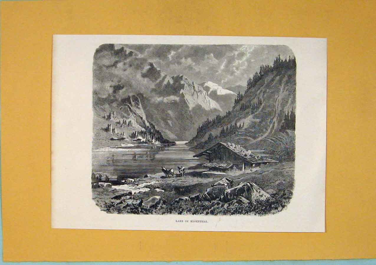 Print Fine Art Lake Kloenthal Switzerland 526411 Old Original