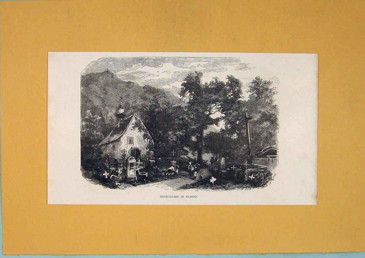 Print Brunnen Seelisberg Mountain Lake Town Switzerland Art 606411 Old Original