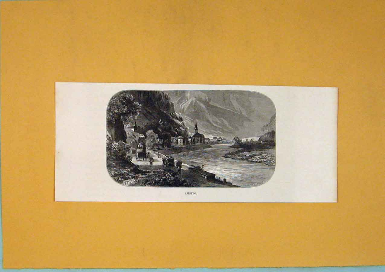 Print Switzerland Amsteg Fine Art C1878 Lake 656411 Old Original
