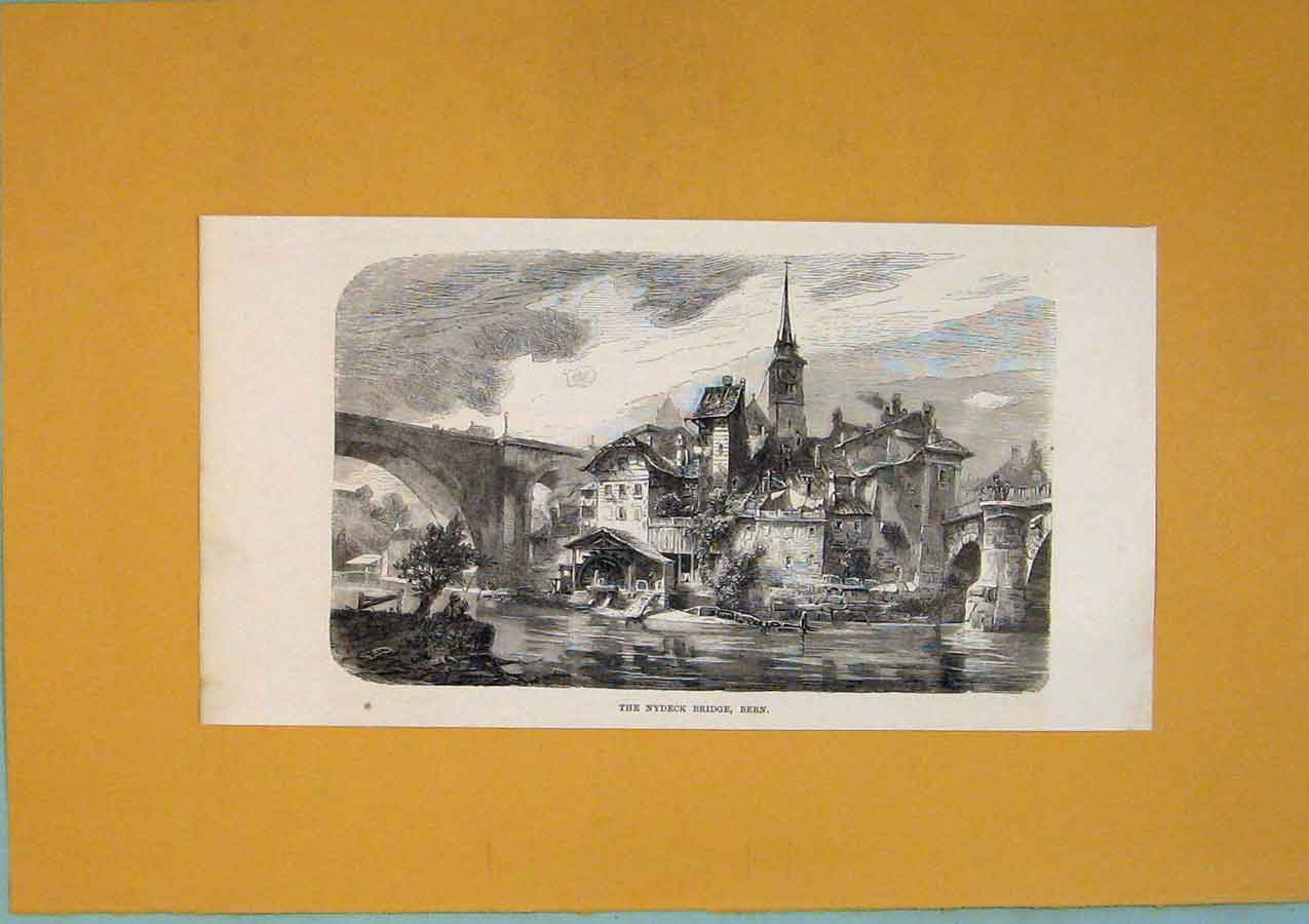 Print Switzerland Nydeck Bridge Lake City Town 896411 Old Original