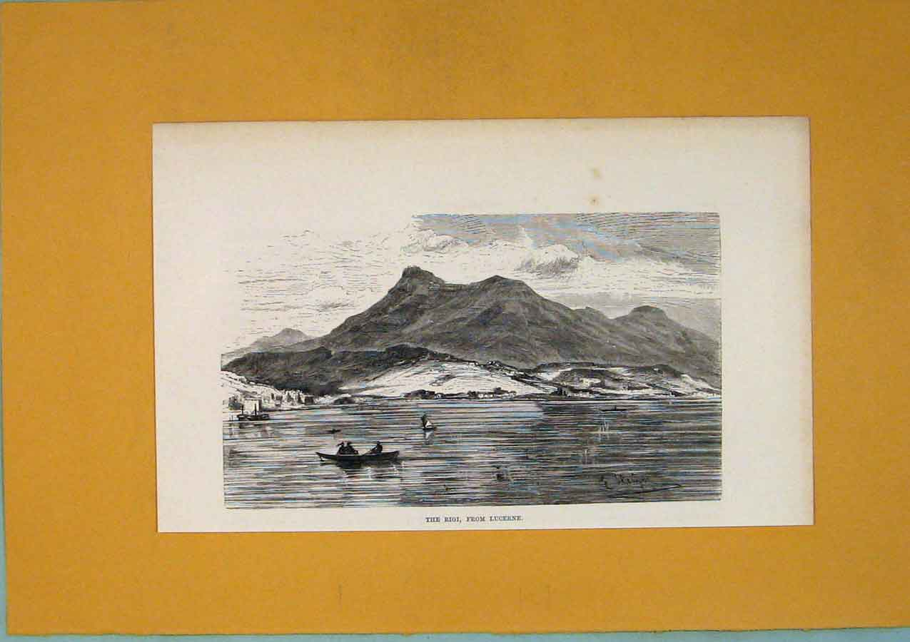 Print Rgig Lucerne Mountain Lake Switzerland C1878 006411 Old Original