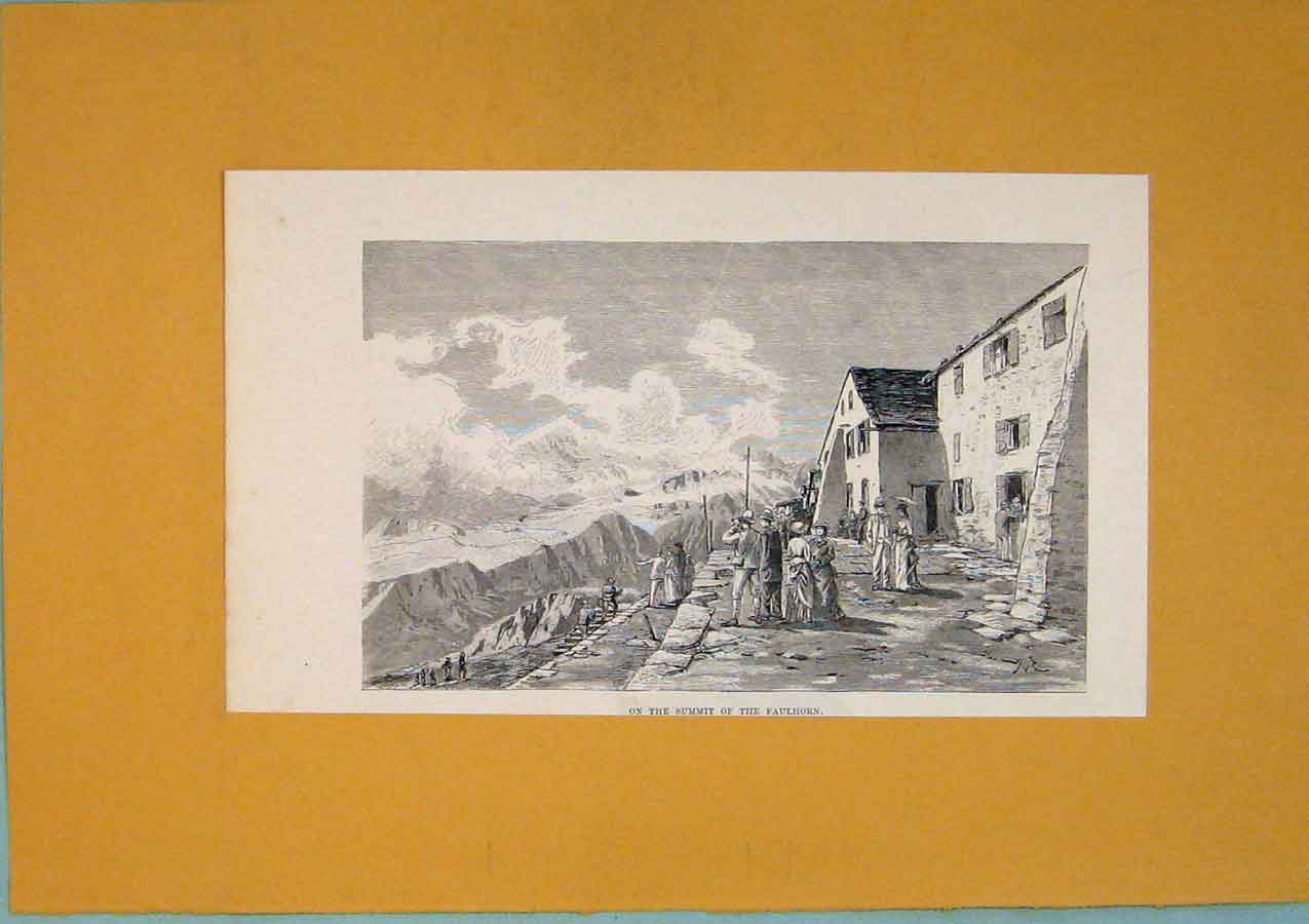 Print C1878 Summit Faulhorn Mountain Gathering Switzerland 056411 Old Original