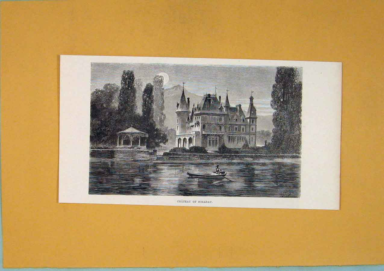 Print Swiss Chateau Schadau Lake Switzerland C1878 136411 Old Original