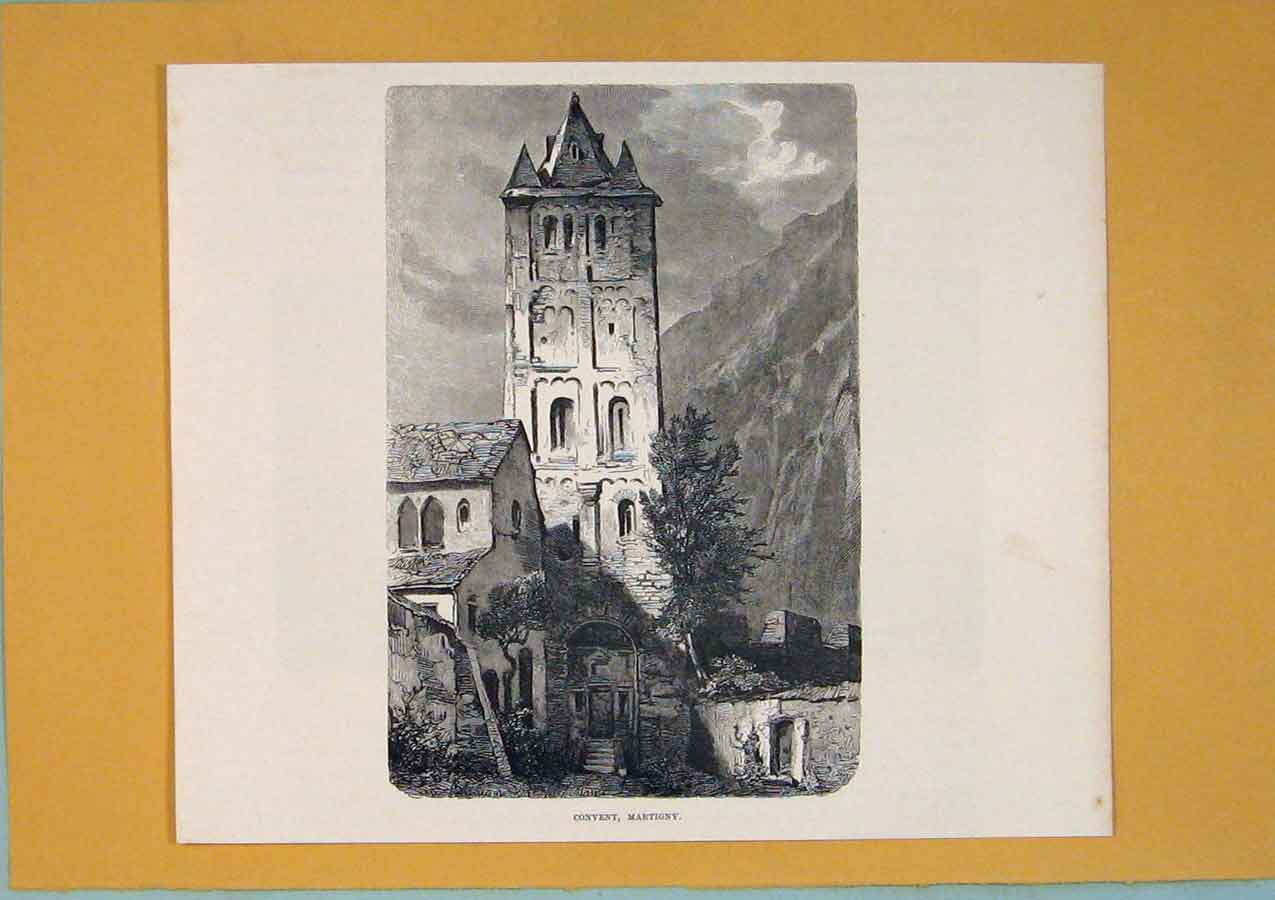 Print Covent Martigny Switzerland Moutain C1878 256411 Old Original