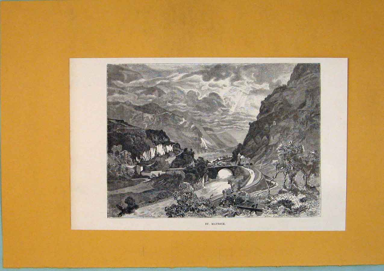 Print St Maurice Mountain Village Town City Switzerland 1878 266411 Old Original