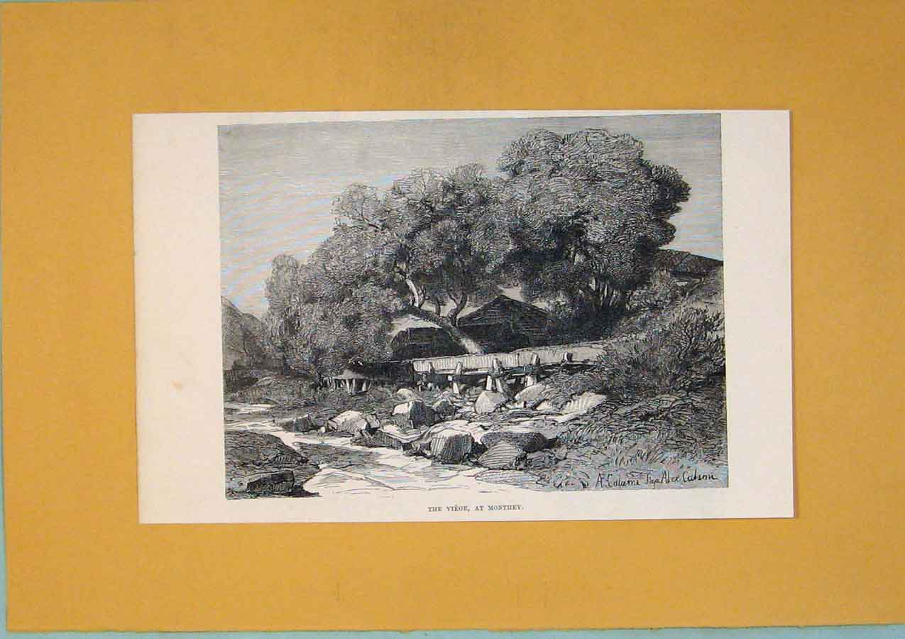 Print C1878 Monthey Stream Switzerland Fine Art 276411 Old Original