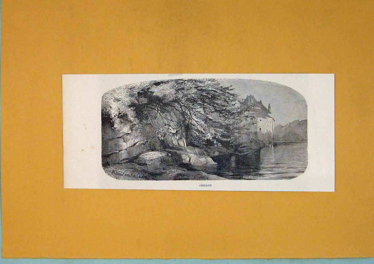 Print C1878 Switzerland Chillon Lake Mountain Art 326411 Old Original