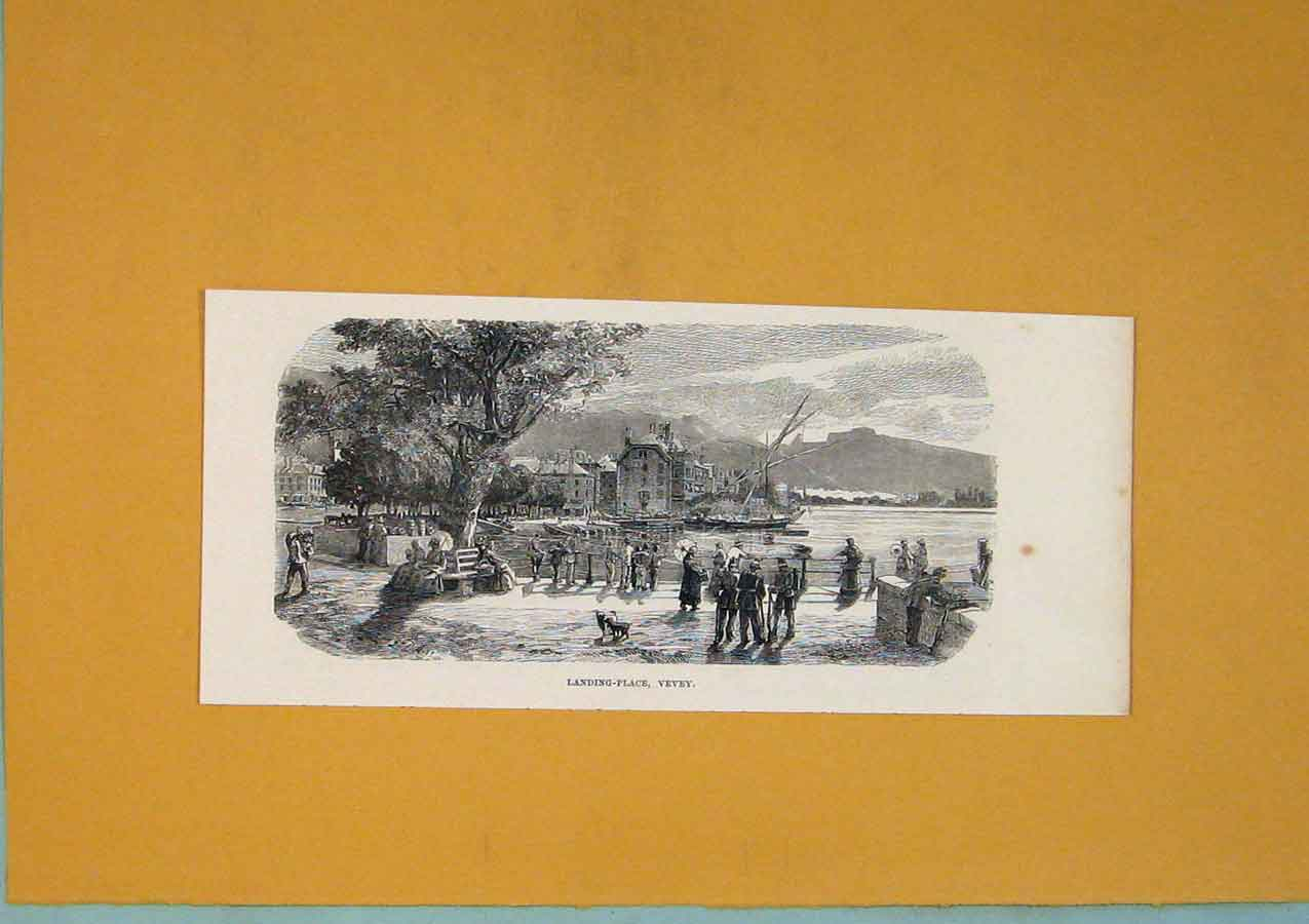 Print Landing Place Vevey Boat Lake Harbour Switzerland C1878 336411 Old Original