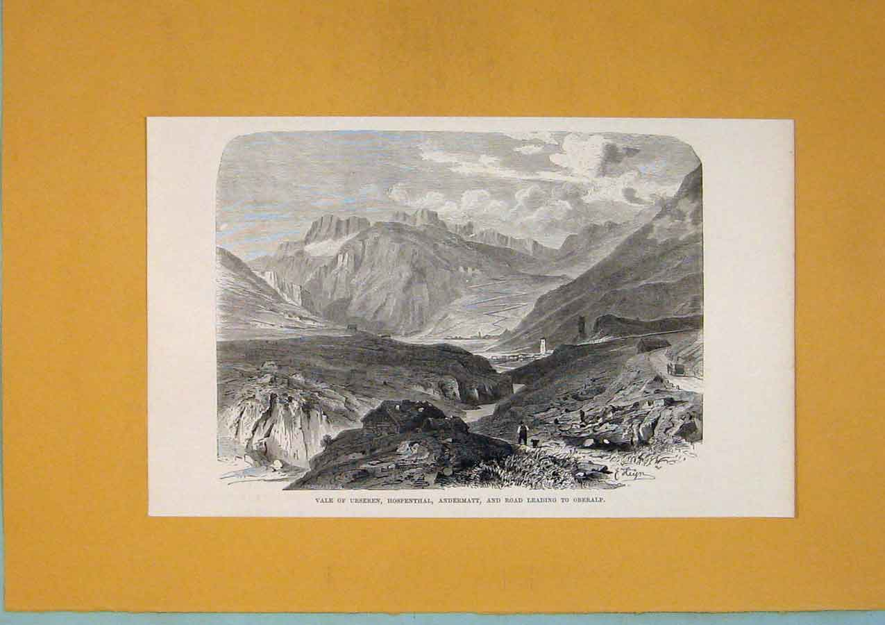 Print Vale Ursernen Hopenthall Oberalp Switzerland 436411 Old Original