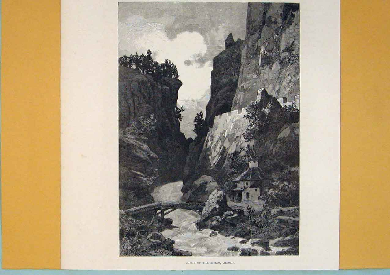Print Gorge Ticino Ariolo Moutain River Switzerland 456411 Old Original