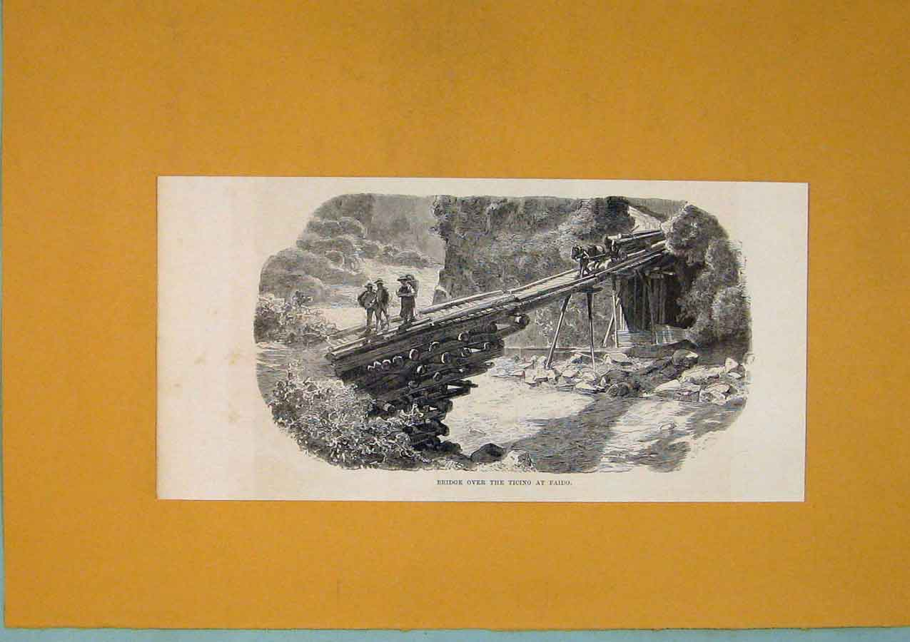 Print Bridge Ticino Faido Switzerland C1878 Art 476411 Old Original