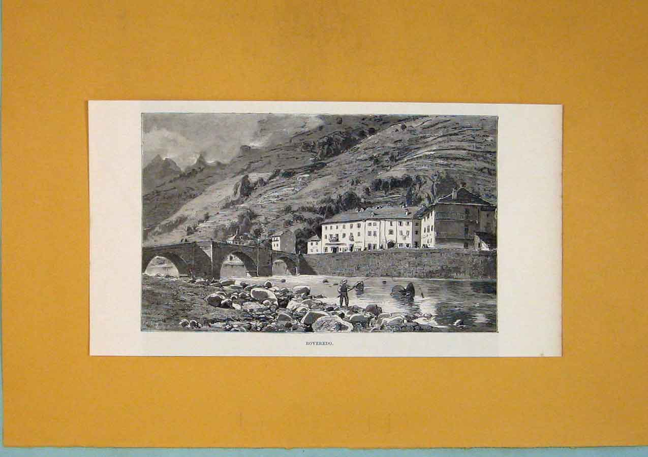 Print Roveredo City Village River Bridge Swiss 736411 Old Original