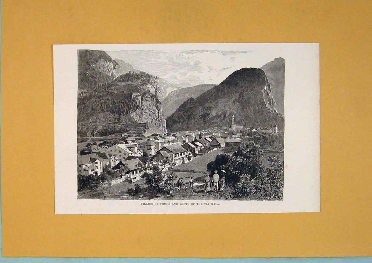 Print Village Thusis Mouth Mala River Mountain Lake 796411 Old Original