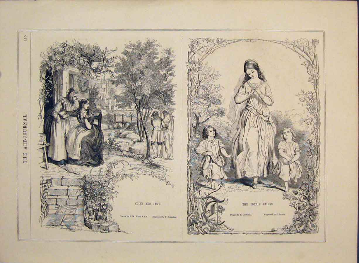 Print Colin Lucy Engravings Branston Courtship 266421 Old Original