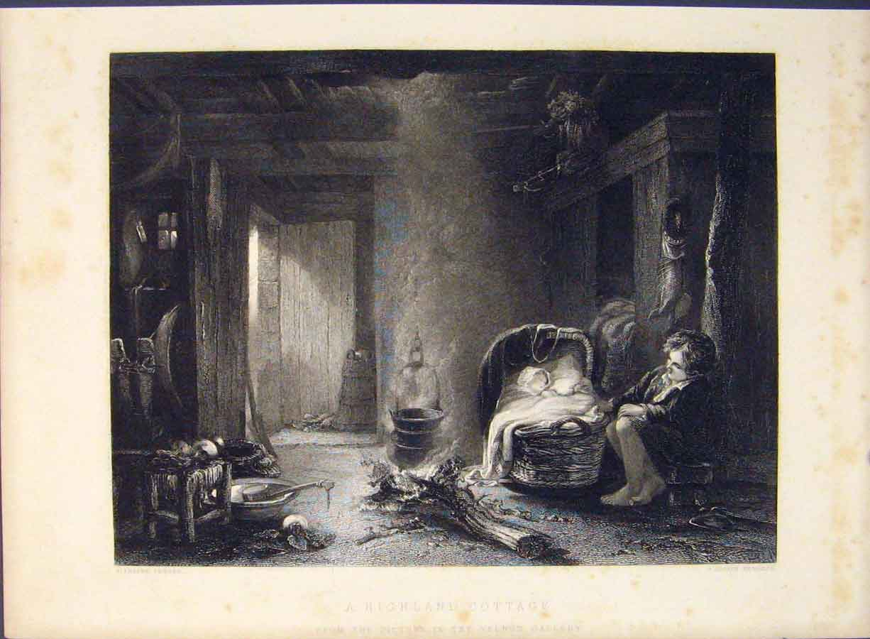 Print Highland Cottage Engravings Cousen Art 476421 Old Original