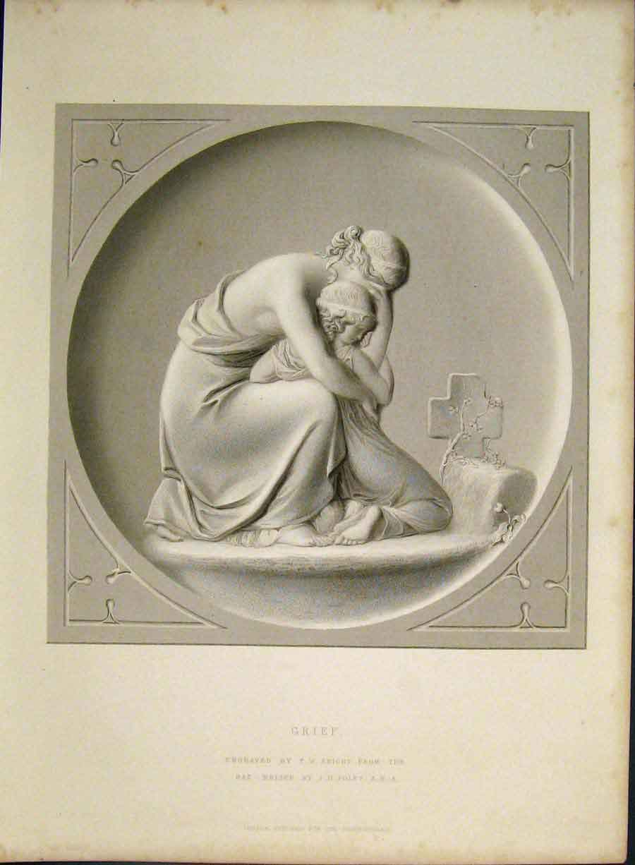 Print Engraving Grief Morning Knight C1850 506421 Old Original