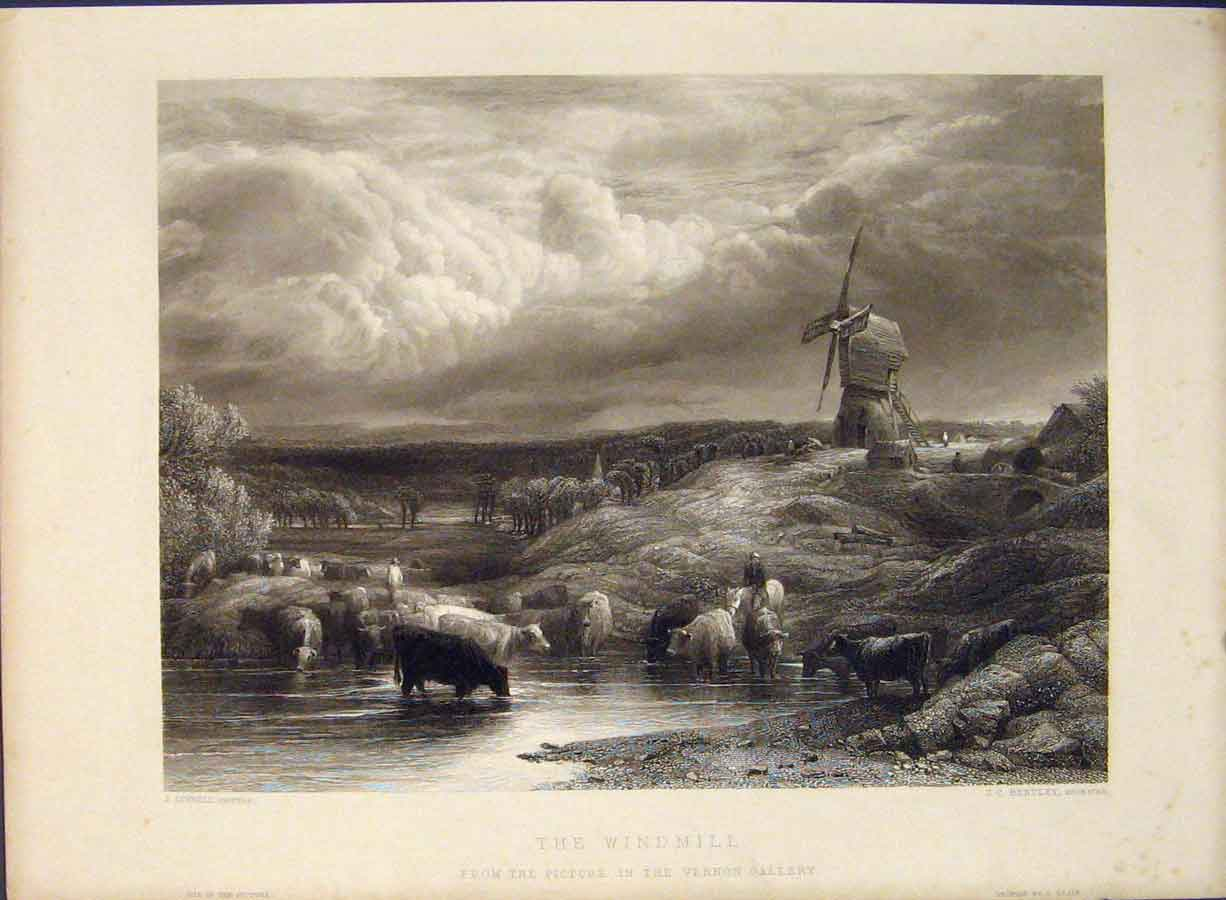 Print Windmill Engraving Bentley C1850 Fine Art 516421 Old Original