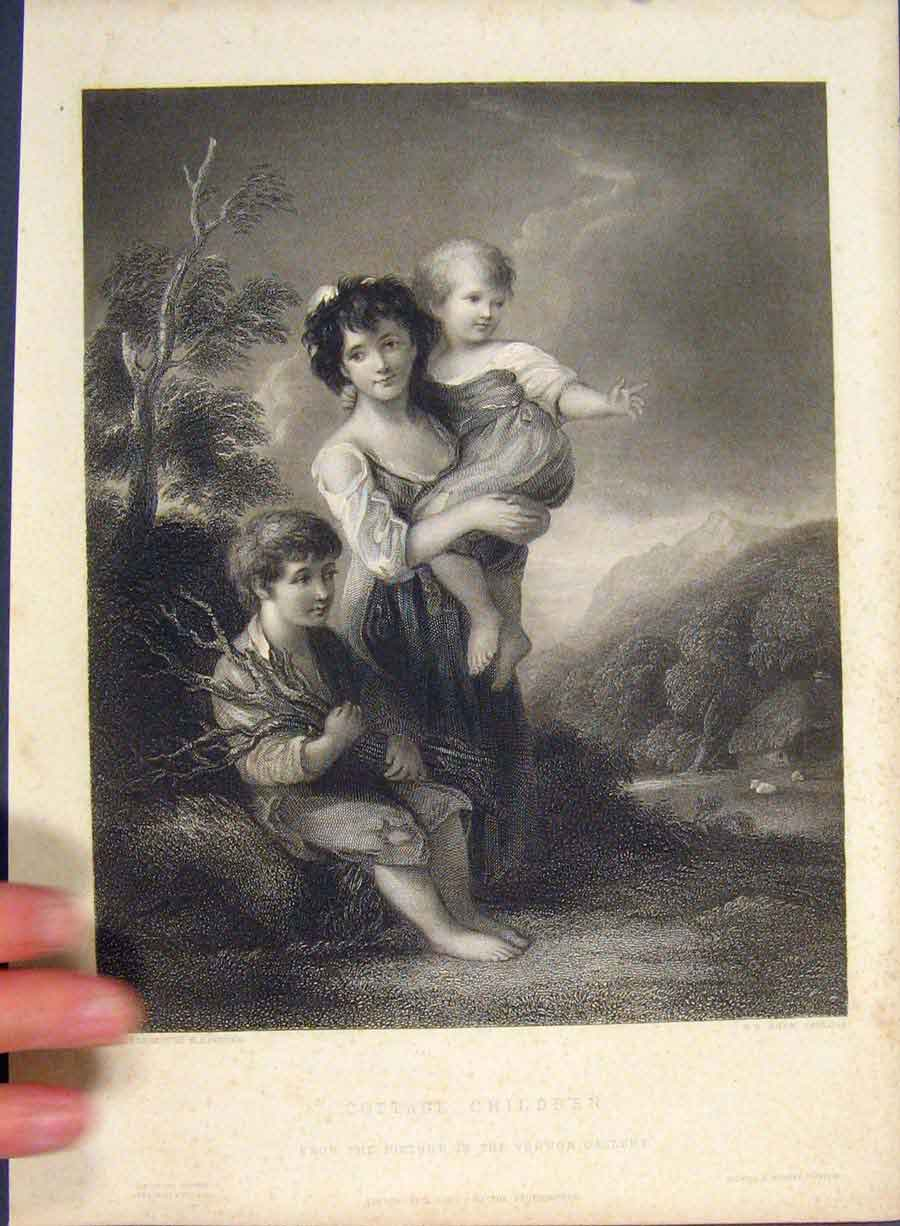 Print Cottage Children Engraved Painting Shaw C1850 606421 Old Original