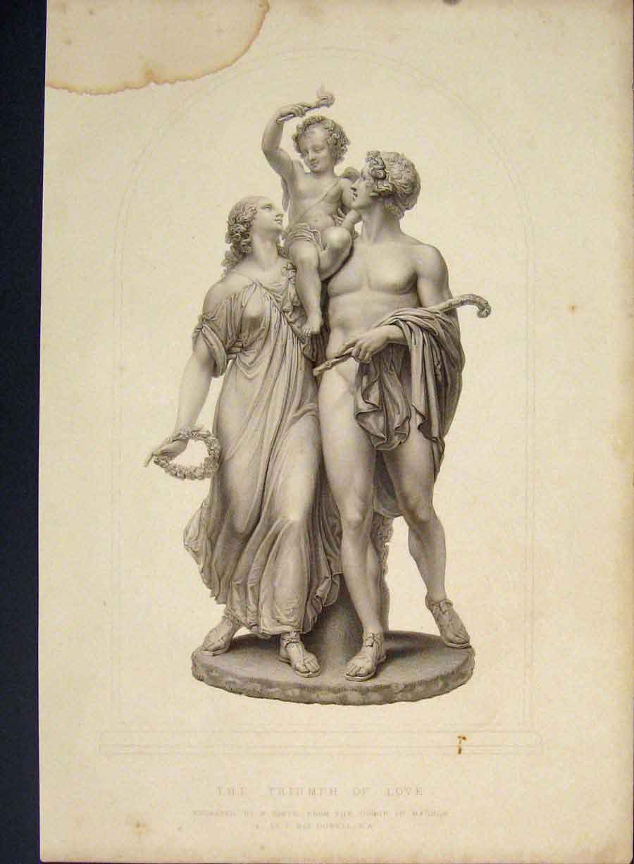 Print Triumph Love Marble Engraving Dowell C1850 686421 Old Original