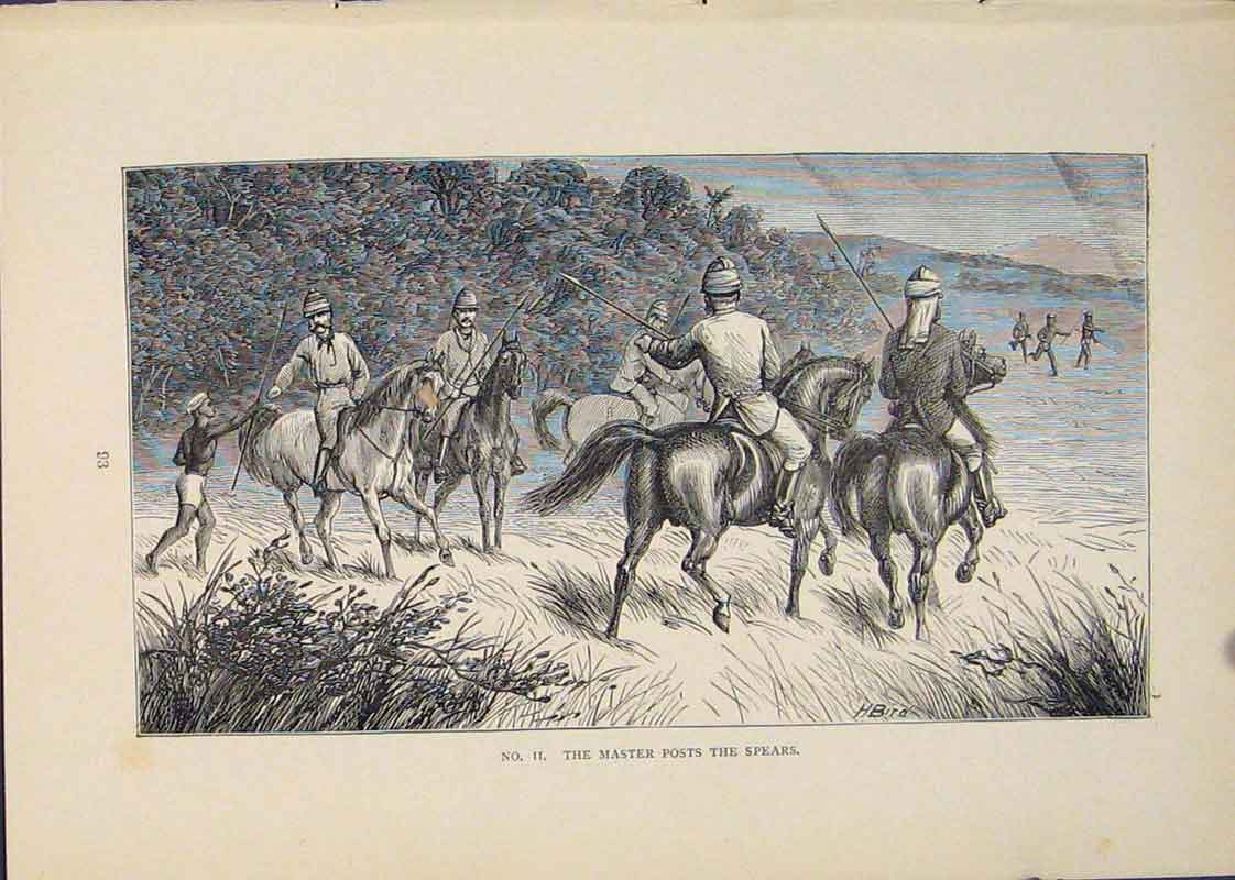 Print Spear Spears Horse Battle Fight Art 336431 Old Original