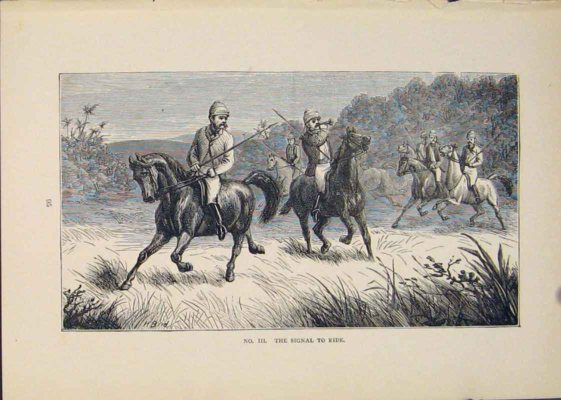 Print Spear Spears Horse Ride Rider Riders 346431 Old Original