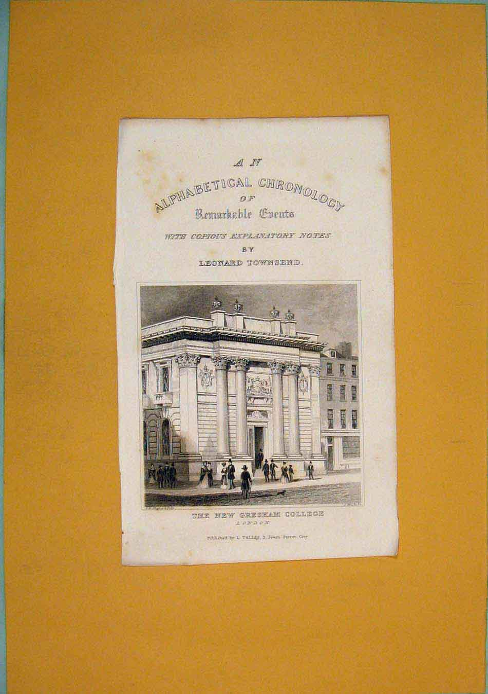 [Print Gresham College London Engalnd Wales 996451 Old Original]