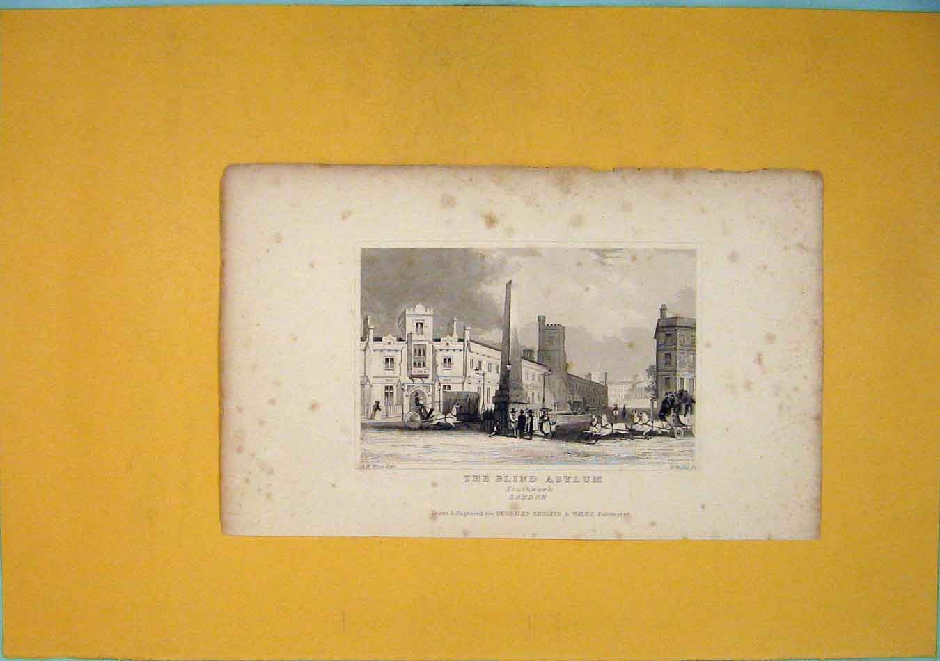 Print Blind Asylum Southwark London Fine Art 026451 Old Original