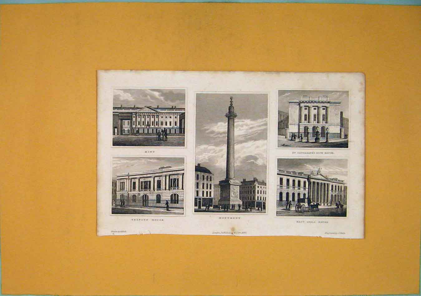 Print Mint Trinity House Monument Catharine'S Dock 256451 Old Original