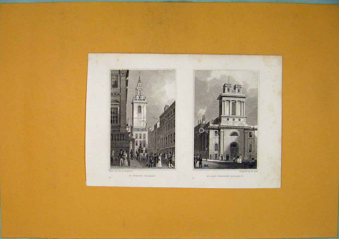 Print St Stephen Walbrook Mary Woolnorth Lombard 336451 Old Original