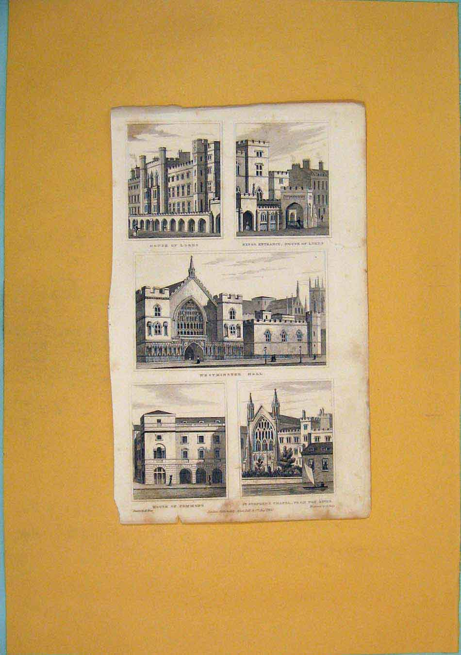 Print House Lords Kings Entrance Westminster Commons Chapel 436451 Old Original