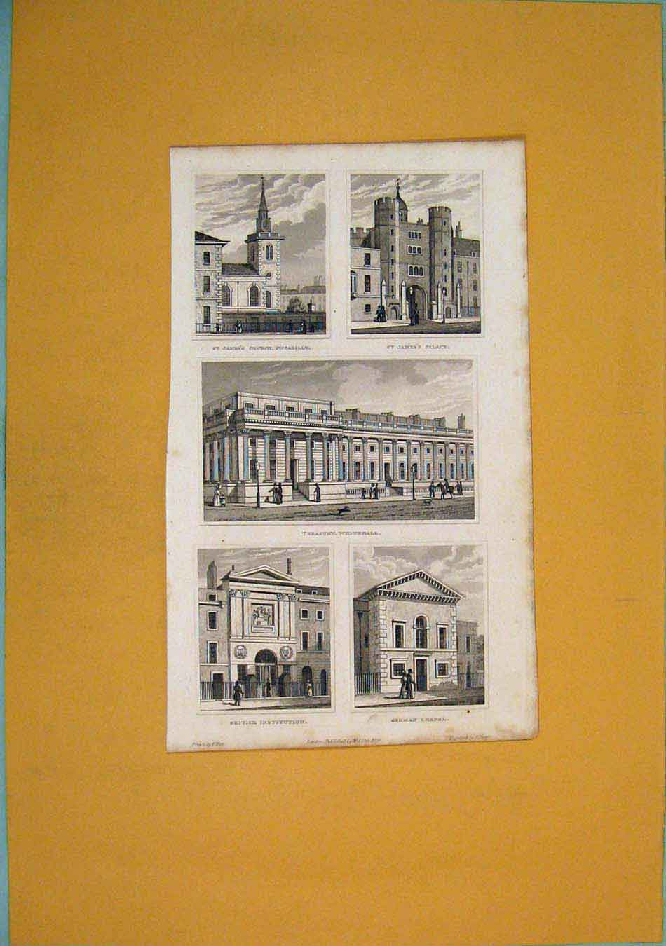 Print St James Church Treasury Whitehall Institution 456451 Old Original