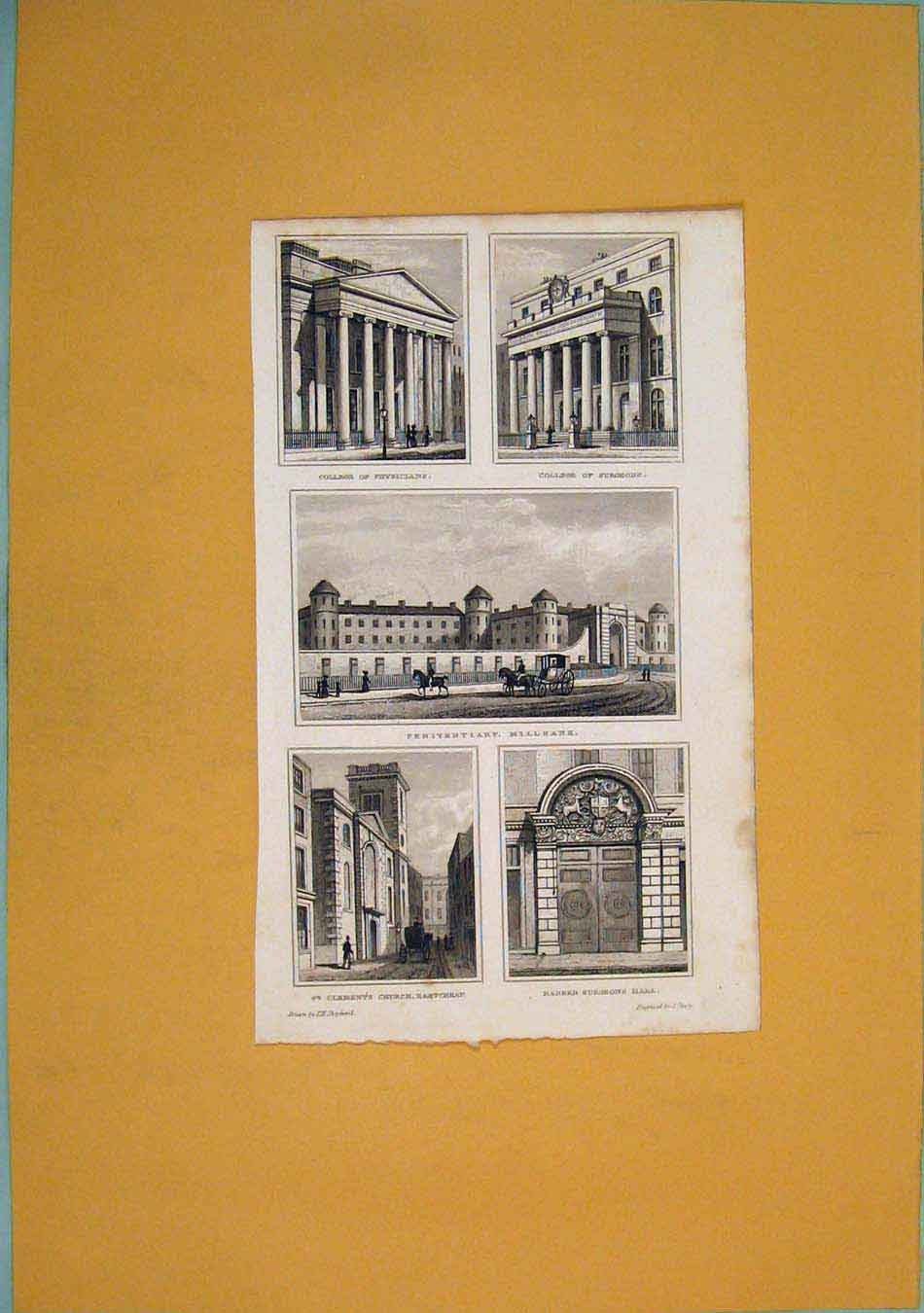 Print College Physicians Surgeons Penitentiary St Clements 496451 Old Original