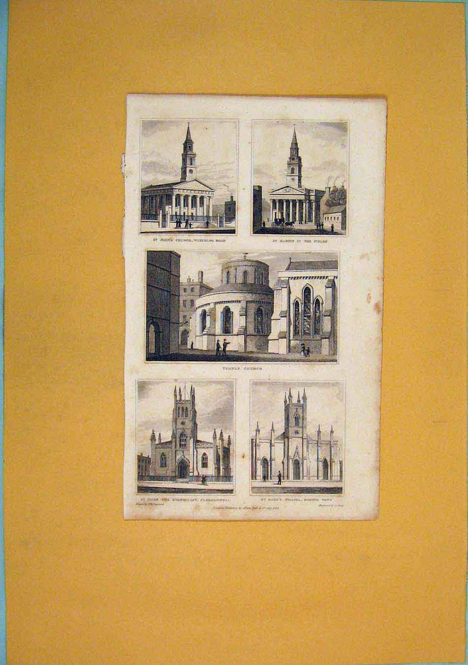 Print St John'S Church Martin Temple Mark Evangelist Chapel 526451 Old Original