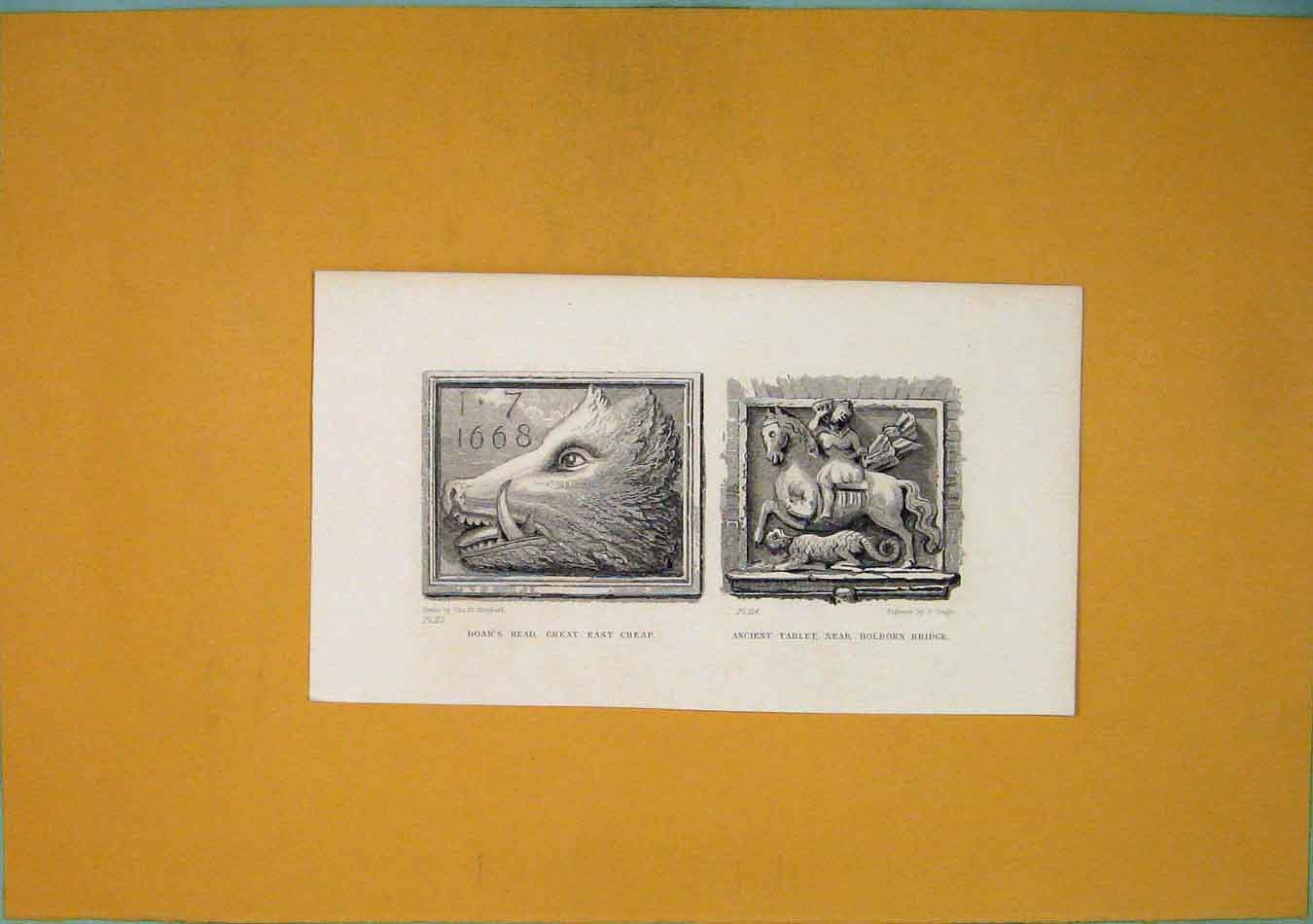 Print Boars Head Great East Cheap Ancient Tablet Holborn Art 666451 Old Original
