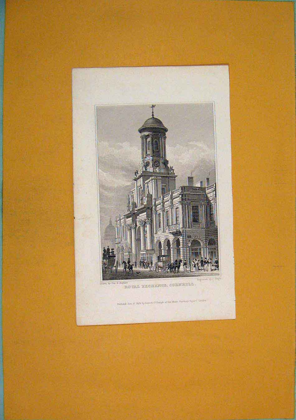 Print Royal Exhange Cornhill Fine Art 696451 Old Original