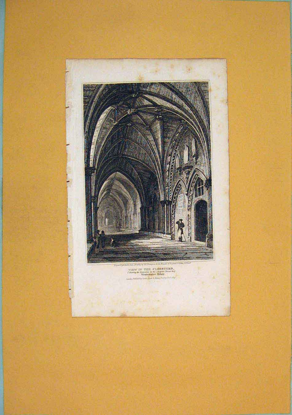 Print Cloisters Chapter House Westminster Abbey London 076451 Old Original