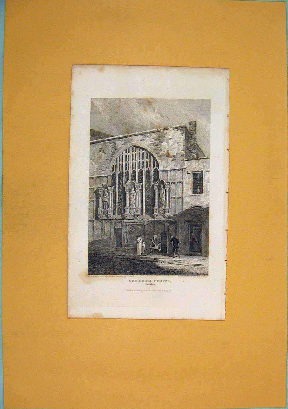 Print Guildhall Chapel London Fine Art 326451 Old Original