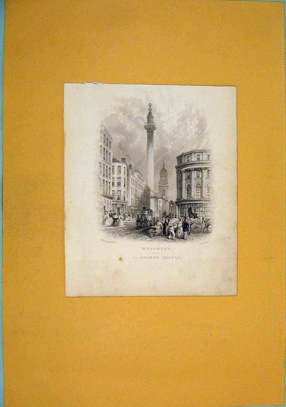 Print Monument St Macnus Church Fine Art 396451 Old Original
