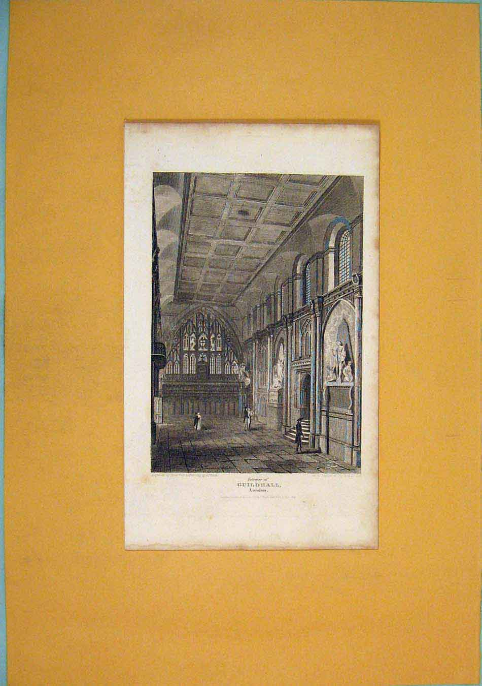 Print Guildhall London Fine Art Interior 696451 Old Original