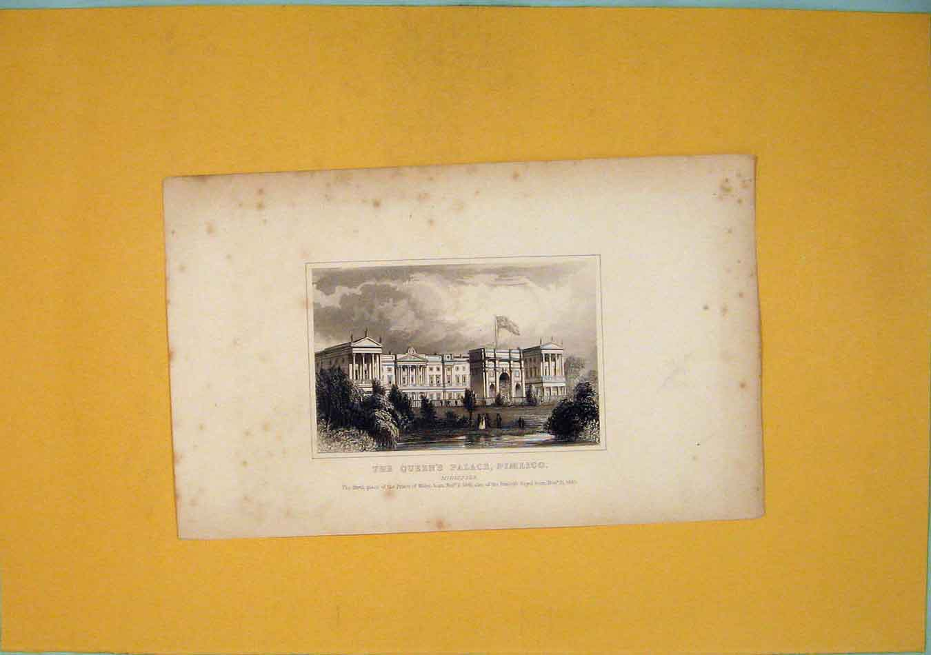 Print Queens Palace Pimlico Middlesex London 826451 Old Original