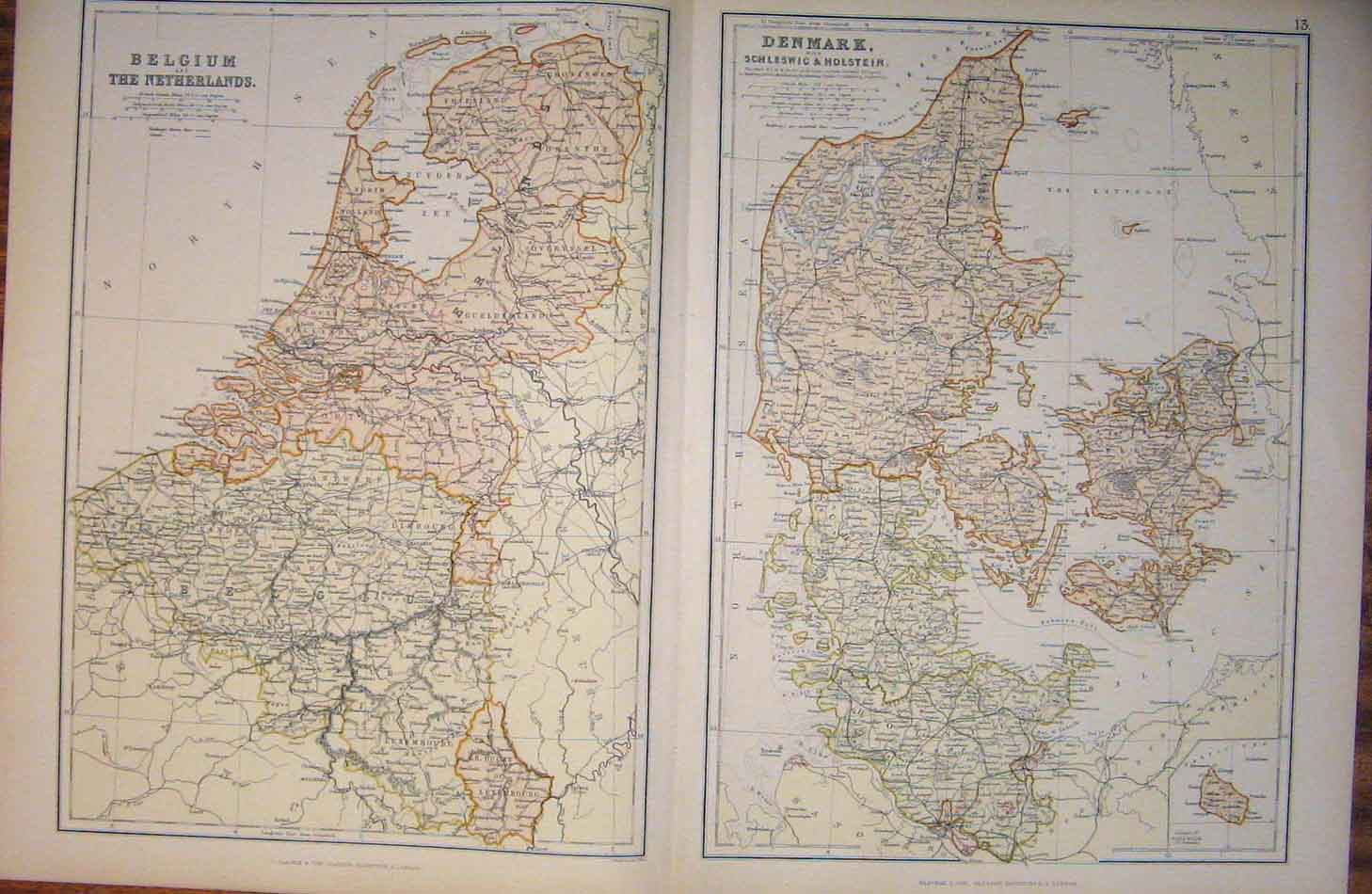 Print Belgium Netherlands Denmark Geographical Map 136501 Old Original