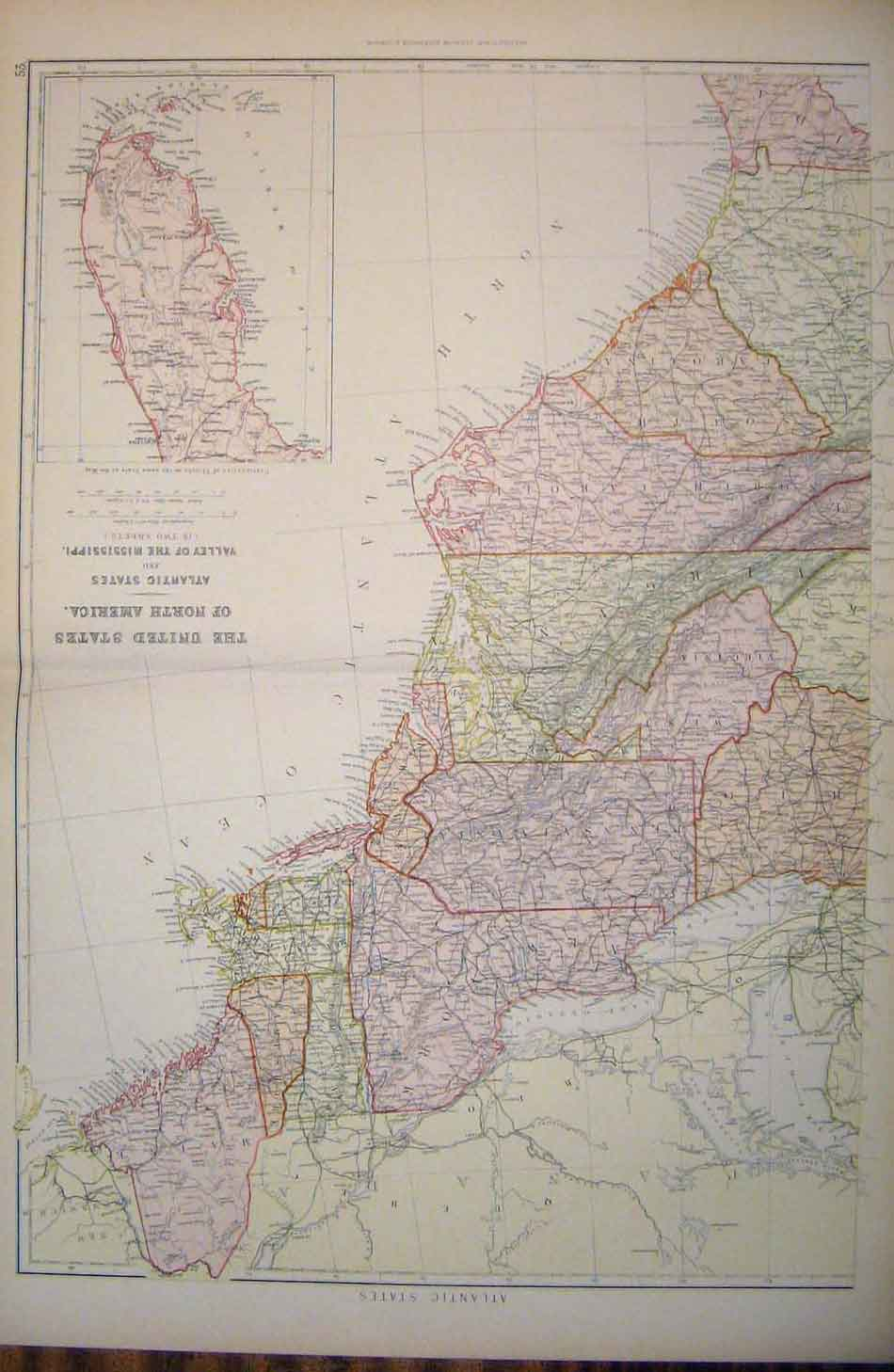 [Print United States North America Atlantic Mississippi Map 536501 Old Original]